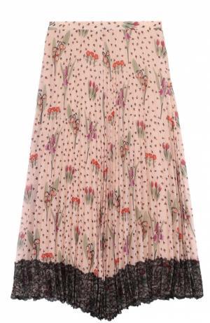 Плиссированная асимметричная юбка с цветочным принтом REDVALENTINO. Цвет: разноцветный