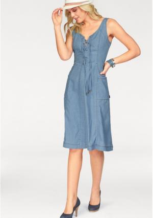 Джинсовое платье Arizona. Цвет: синий потертый