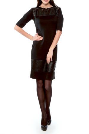 Платье со вставками из кожи Majaly. Цвет: черный