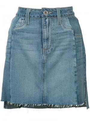Джинсовая юбка с необработанным подолом Paige. Цвет: синий