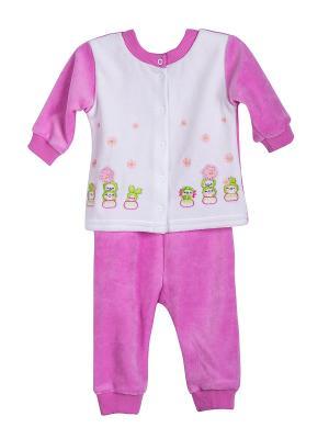 Комплект (жакет+брюки) Бимоша. Цвет: розовый