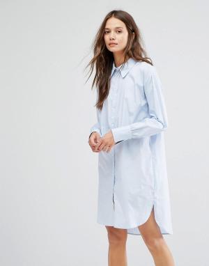 Gestuz Платье-рубашка. Цвет: синий