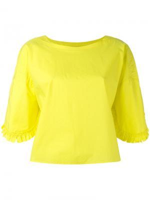 Укороченная футболка Tsumori Chisato. Цвет: жёлтый и оранжевый