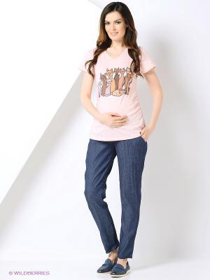 Блузка для беременных 40 недель. Цвет: розовый