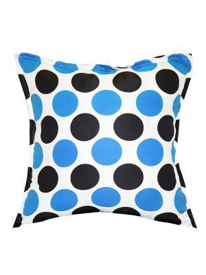 Подушка декоративная, принт Круги Dorothy's Нome. Цвет: темно-серый, голубой, белый