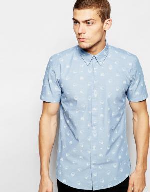 Junk De Luxe Рубашка с короткими рукавами и принтом. Цвет: синий