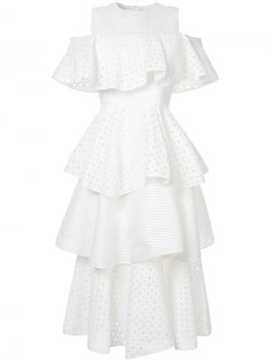 Платье с открытыми плечами оборками Huishan Zhang. Цвет: белый