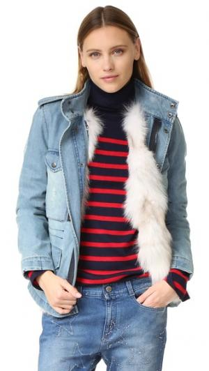 Пальто из денима с подкладкой искусственного лисьего меха Jocelyn. Цвет: деним