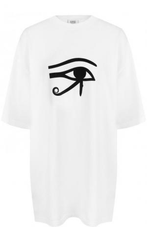 Хлопковая футболка свободного кроя с принтом Vetements. Цвет: белый