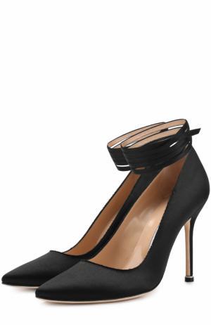 Атласные туфли с ремешками  X Manolo Blahnik Vetements. Цвет: черный