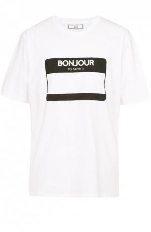 Хлопковая футболка с нашивкой Ami. Цвет: белый