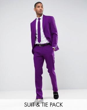 Oppo Suits Фиолетовый облегающий костюм и галстук OppoSuits PROM. Цвет: фиолетовый