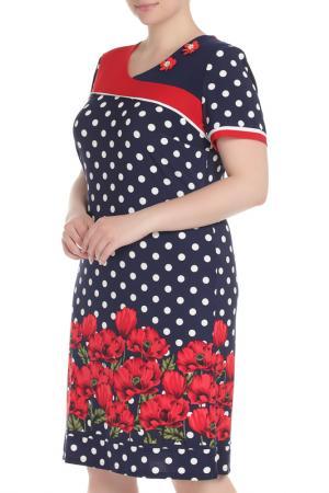 Платье Spring. Цвет: синий, красный