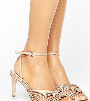 Office Золотисто-розовые сандалии с узелком на среднем каблуке Millie. Цвет: золотой