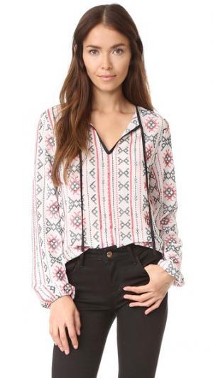 Блуза с вышивкой ENGLISH FACTORY. Цвет: красный комбинированный