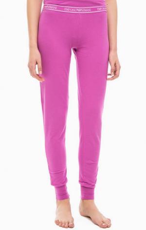Домашние брюки из хлопка Emporio Armani. Цвет: фуксия
