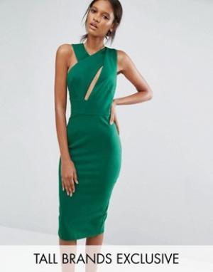 Taller Than Your Average Платье-футляр миди без рукавов TTYA. Цвет: зеленый
