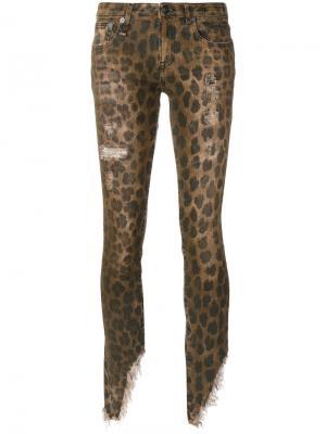 Джинсы с леопардовым принтом R13. Цвет: коричневый