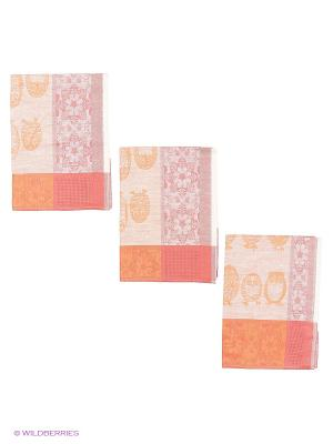 Набор полотенец лен Метиз. Цвет: красный, рыжий