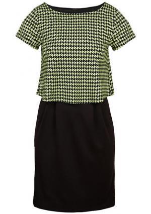 Платье Y.O.U.. Цвет: черный/цвет лайма