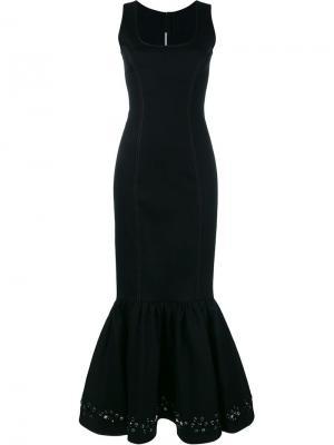 Джинсовое платье с украшением из кристаллов Alessandra Rich. Цвет: синий