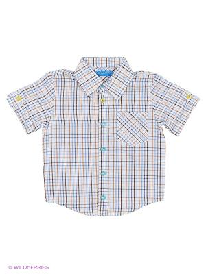 Рубашка Stilnyashka. Цвет: бежевый, белый, синий, голубой