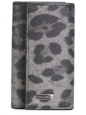 Кошелек для ключей с леопардовым принтом Dolce & Gabbana. Цвет: серый