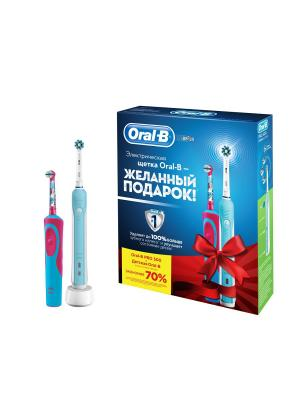 Электрическая зубная щетка PRO 500 + Vitality Frozen Kids в подарочной упаковке Oral-B. Цвет: голубой, белый, красный