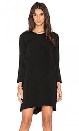 Платье long sleeve trapeze dress Enza Costa. Цвет: черный