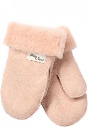 Варежки из овчины Petit Nord. Цвет: розовый