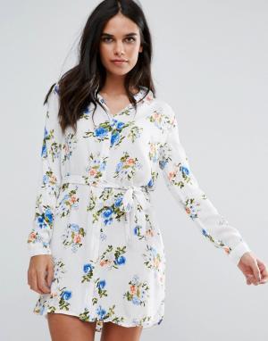 Unique 21 Платье-рубашка с принтом Unique21. Цвет: синий