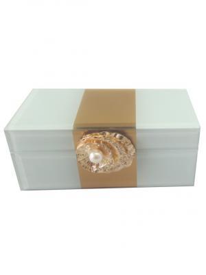 Шкатулка Жемчужина (15,5x7,5x6,5см, из стекла для мелочей) Magic Home. Цвет: золотистый, белый