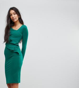 City Goddess Tall Платье-футляр с длинными рукавами и оборками. Цвет: зеленый