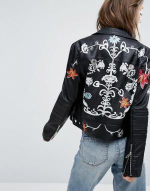 BLANK NYC Байкерская куртка из искусственной кожи с принтом цветов. Цвет: черный