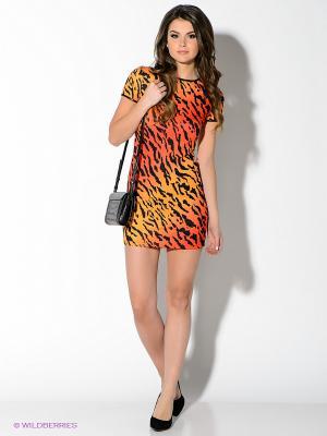 Платье Oodji. Цвет: оранжевый, черный, красный