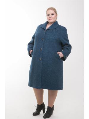 Пальто 60905А Trevery. Цвет: бирюзовый