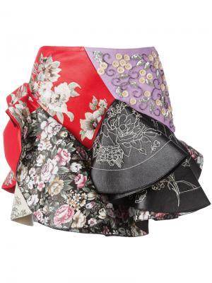 Пышная юбка с вышивкой Alexander McQueen. Цвет: многоцветный