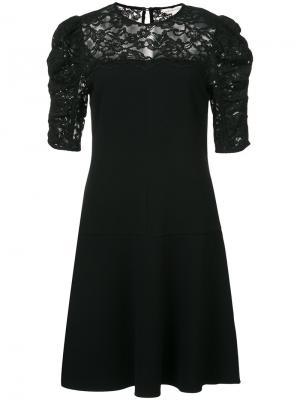 Расклешенное кружевное платье Rebecca Taylor. Цвет: чёрный