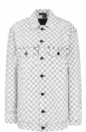 Джинсовая куртка в контрастную клетку Denim X Alexander Wang. Цвет: черно-белый