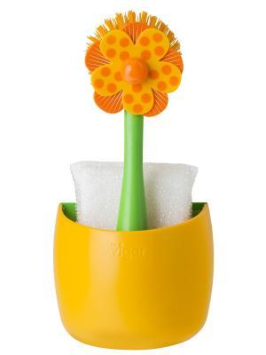 Щетка для посуды и губка на подставке VIGAR. Цвет: зеленый, оранжевый