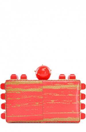 Клатч Ibiza из кожи змеи Tonya Hawkes. Цвет: коралловый
