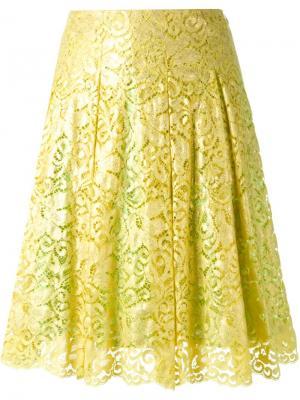 Кружевная юбка DressCamp. Цвет: жёлтый и оранжевый