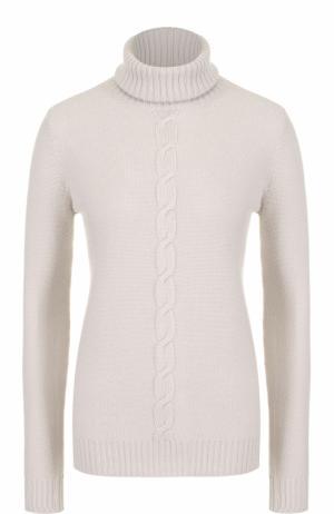 Кашемировый свитер прямого кроя с высоким воротником Loro Piana. Цвет: светло-серый