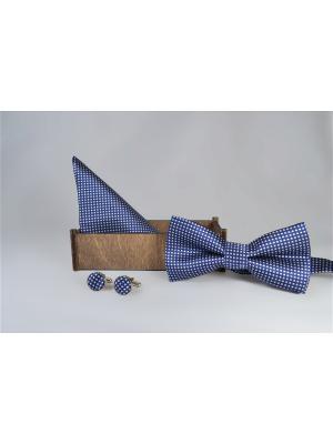 Подарочный набор: бабочка, запонки, нагрудный платок Churchill accessories. Цвет: синий
