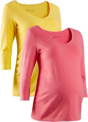 Футболка для беременных (2 шт.) (желтый тюльпан + нежный ярко-розовый) bonprix. Цвет: желтый тюльпан + нежный ярко-розовый