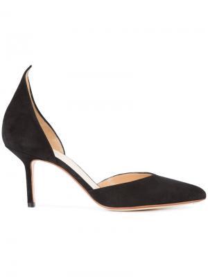 Туфли-лодочки с открытыми боковинами Francesco Russo. Цвет: чёрный
