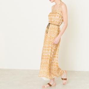 Платье длинное из шелка POMANDERE. Цвет: горчичный