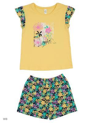 Пижама: топ, шорты Modis. Цвет: желтый, бирюзовый, фиолетовый