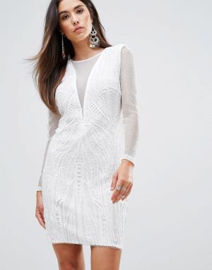 Forever Unique Облегающее платье с глубоким V-образным вырезом. Цвет: кремовый