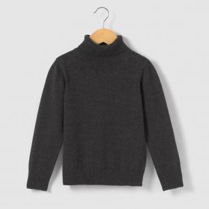 Пуловер с высоким воротником, 3-12 лет La Redoute Collections. Цвет: серый